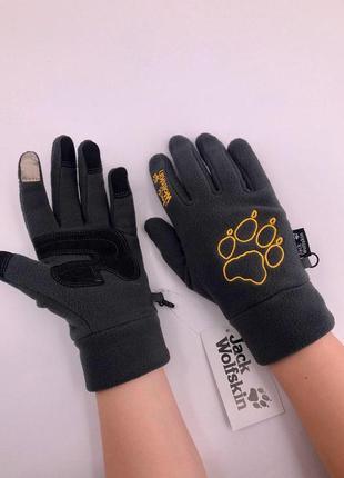 Теплые,мягкие флисовые перчатки jack wolfskin