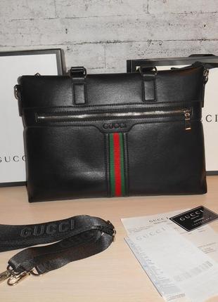 Сумка мужская портфель а4 gucci, кожа, италия