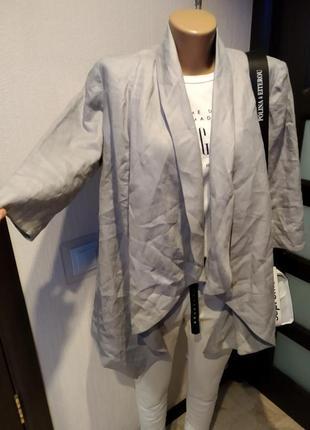 Шикарный стильный пиджак жакет кардиган накидка из натурального льна