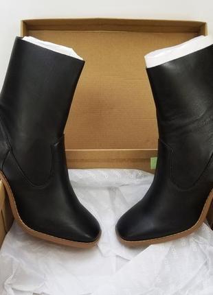 Женские ботильоны на каблуке квадратном чёрные натуральная кожа