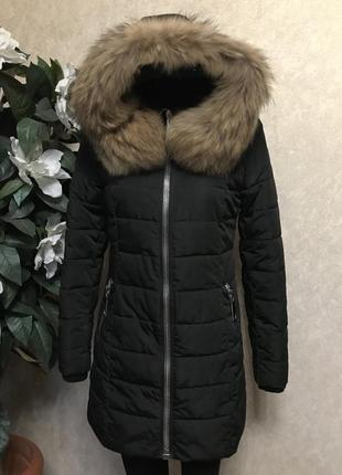 Пуховик куртка moncler мех енота