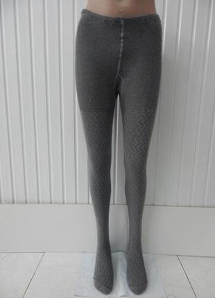 Женские ажурные вязаные колготки хлопок серые волна размер 48-50укр