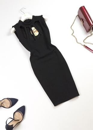 Элегантное новое черное платье мини по фигуре с красивым декольте коктейльное платье m l