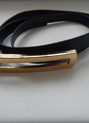 Ремень узкий черный с металической пряжкой