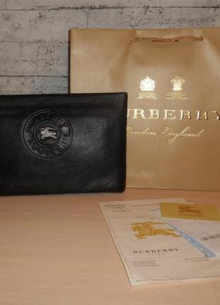 Мужская сумка клатч барсетка вместительная burberry, кожа, италия