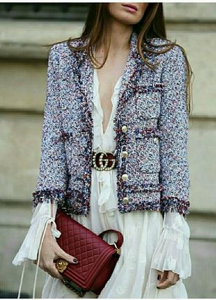 Твидовый пиджак в винтажном стиле