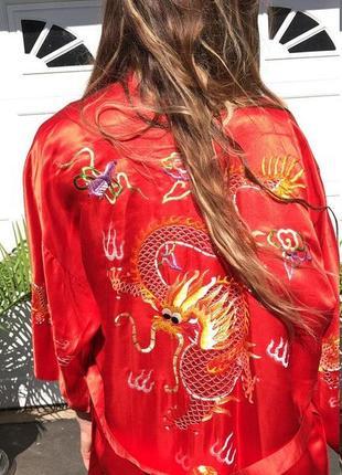 Роскошный красный шелковый халат кимоно, натуральный шёлк, шелк, шовк, golden dragon