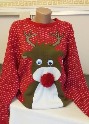 Новогодний свитер с оленем  l