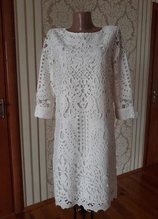 Обалденно красивое нарядное вечернее коктейльное кружевное  платье с открытой спинкой