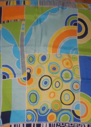 Яркий интересный шелковый платок винтаж 100% шелк louis feraud /85*87 см