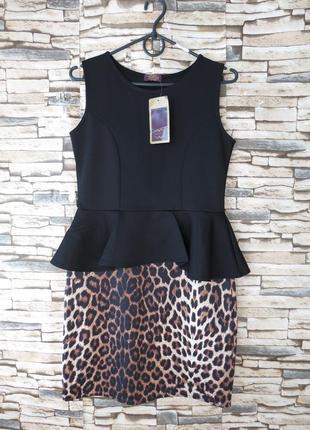 Супер нарядное платье с баской и леопардовым принтом 12 размер