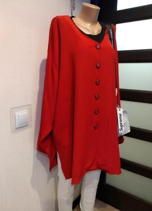 Оверсайз рубашка блузка красная тонкая большого размера