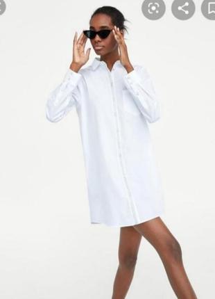 Белое платье рубашка zara