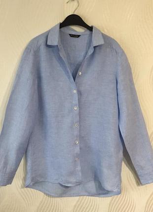 Стильная льняная оверсайз рубашка massimo dutti
