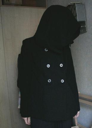 Жакет плащ пальто куртка etam шерсть теплая капюшон мантия
