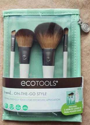 Дорожный набор кистей для макияжа ecotools, 4 кисти и косметичка