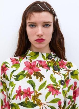 Рубашка с примесью льна от zara