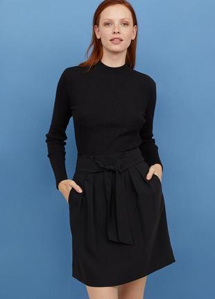 Стильная юбка с поясом  h&m черная юбка-тюльпан с высокой талией