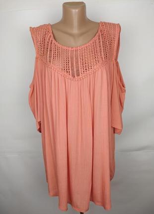 Блуза натуральная красивая с кружевной кокеткой большого размера m&co uk 20/48/3xl