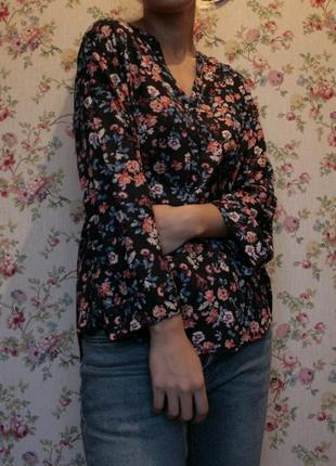 Блуза в цветы вискоза летняя рубашка primark