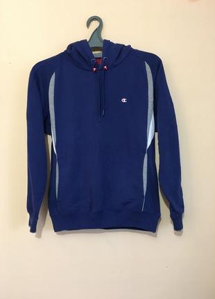 Тепла худи champion синя кофта свитер з капішоном