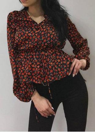 Брендовая блузка цветочный принт 🌺 mango
