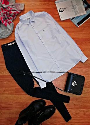 Женская современная фирменная базовая рубашка в мужском стиле lacoste - размер 50-52