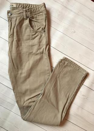 Брюки джинсы песочного цвета на высокого мужчину denimco штани чоловічі
