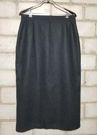 Меланжевая шерстяная юбка миди карандаш