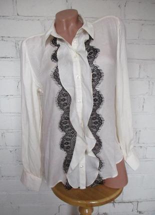 Блуза вискозная молочного цвета с кружевом/вискоза/s-m
