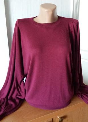 Стильный джемпер с пышными рукавами винного цвета, одет 1 раз