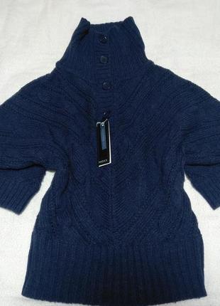 Теплый свитер с хомутом крупной вязки кокон оверсайз.
