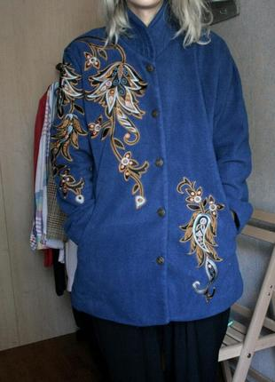 Флис синяя куртка теплая с вышивкой винтаж ретро