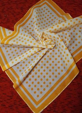 Терракотовый платок, шейный платочек, косынка, декор на сумку, в горошек