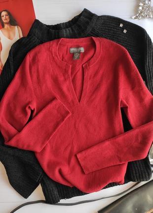 Шерстяной джемпер в рубчик красного цвета люкс качество