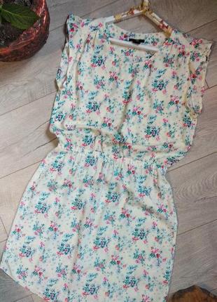 Летнее платье -сарафан в принт акварель h&m