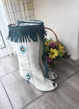 Кожаные демисезонные сапоги с открытым носком luciano carvari