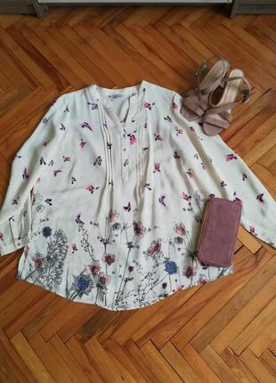 Красивая нежная натуральная блуза в цветочки и птички большой размер