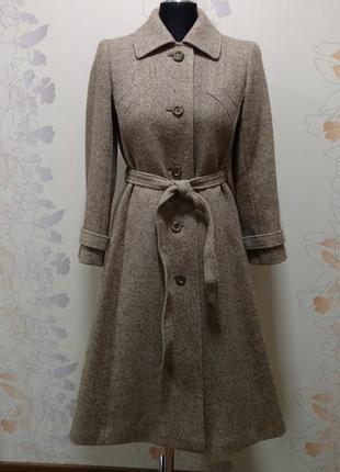 Бежевое пальто 100 '/, шерсть handmade
