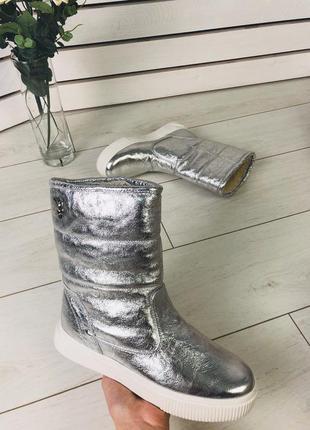 Lux обувь! шикарные натуральные зимние сапоги угги серебро
