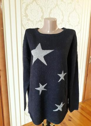 Махеровая кофточка с серебряными звёздочками полувер джемпер  свитер  кофта