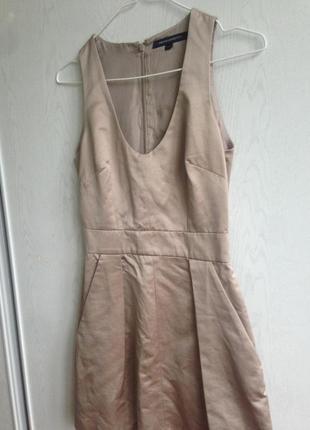 Сатиновое платье сарафан с карманами french connection