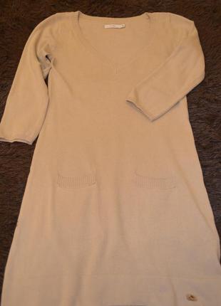 Трикотажное короткое платье, цвет кофе с молоком, 3/4 рукав  фирмы tatuum, 36 размер
