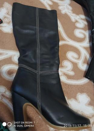 Big rope сапоги итальянского бренда новые черные кожаные на каблуке теплые