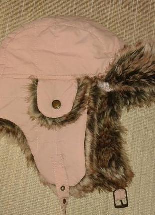 Теплая розовая шапка ушанка от h&m, o/s