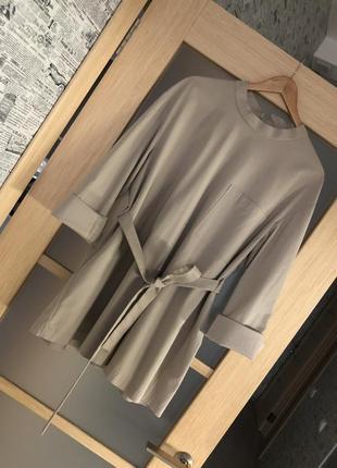 Как новая! стильная бежевая удлиненная рубашка туника блузка (бесплатная доставка)