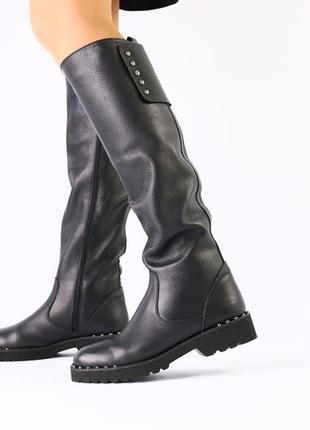 Lux обувь! идеальные стильные высокие зимние высокие сапоги на низком ходу