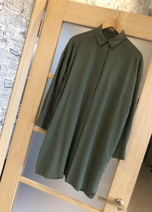 Как новая! стильная зелёная хаки удлинённая рубашка туника блузка (бесплатная доставка)