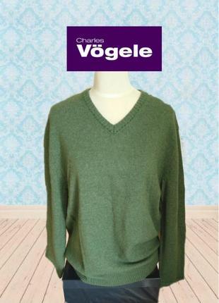 💨❄charles vogele 80 % шерсть теплый женский свитер зеленый меланж 52💨❄💨