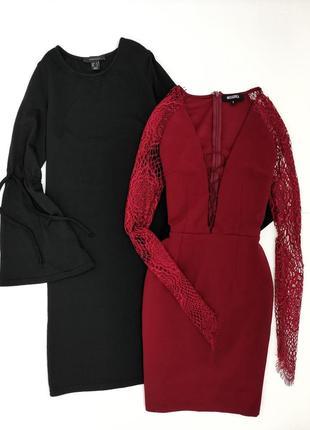 Платье с кружевными рукавами со шнуровкой missguided